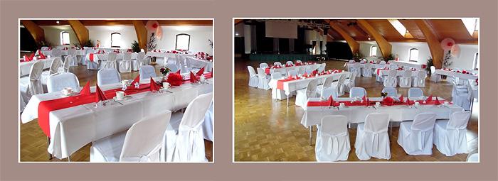 Hochzeitsdekoration rot-weiß
