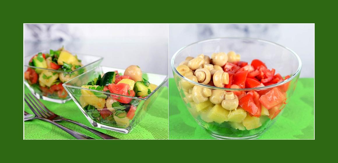 Salat mit Gurken Champignons