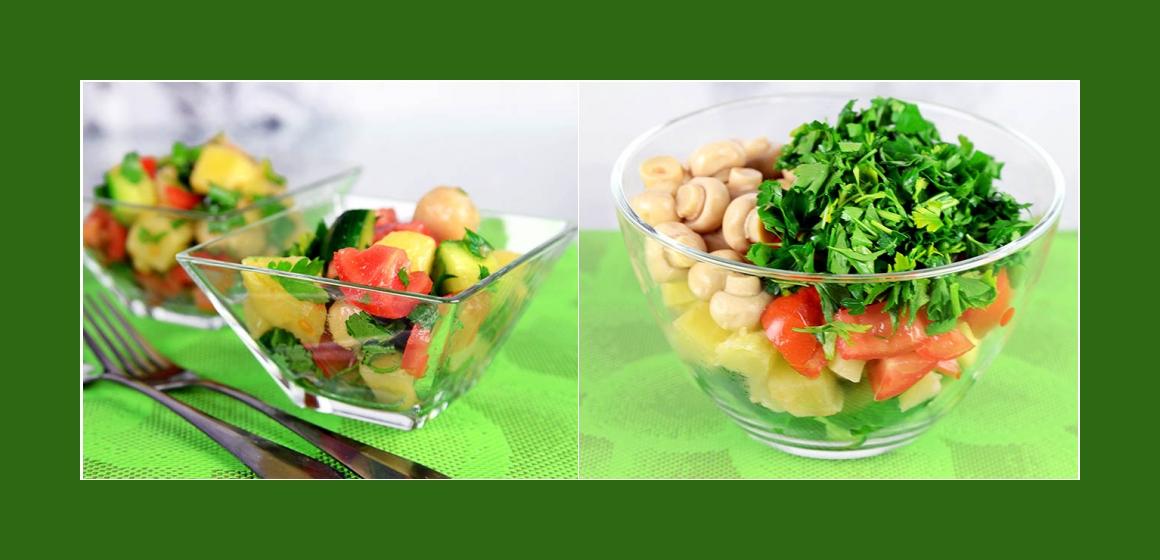 Salat mit Champignons Tomaten