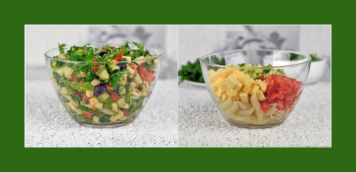 einfacher Salat mit Käse Oliven