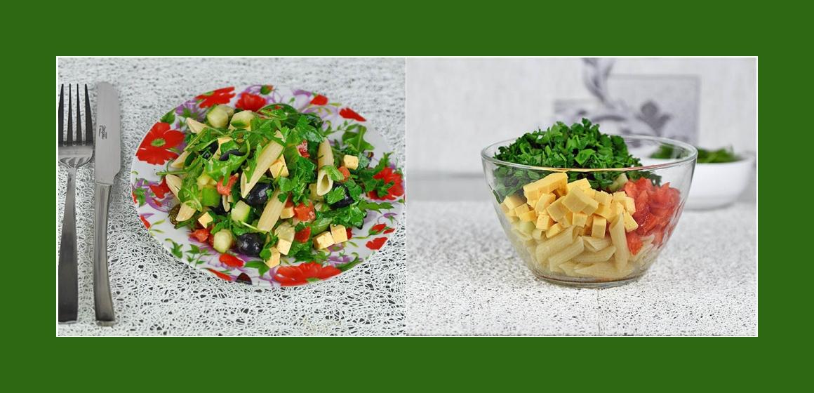 gemischter Salat Käse-Oliven-Salat
