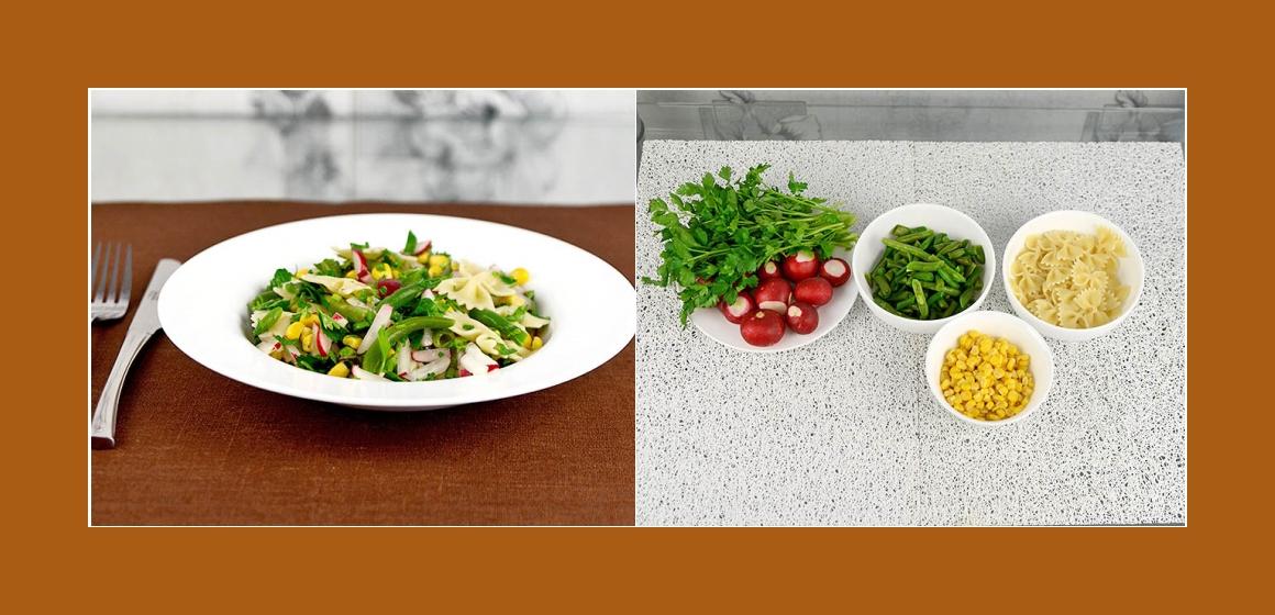 Leckerer Pastasalat mit Radieschen grünen Bohnen  Mais