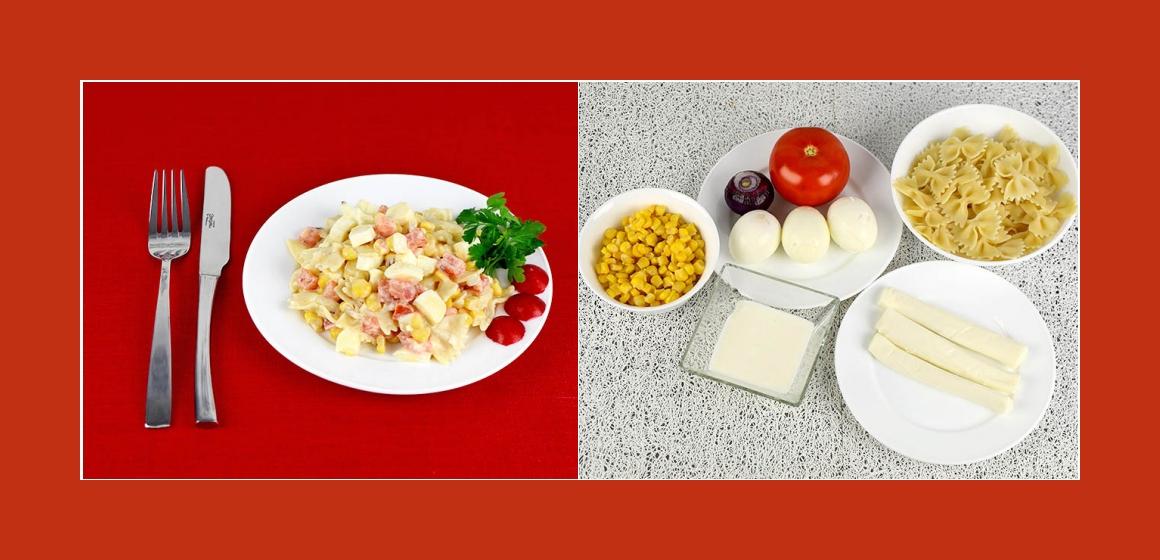 Pikanter Salat mit Nudeln, Suluguni, Mais Eiern