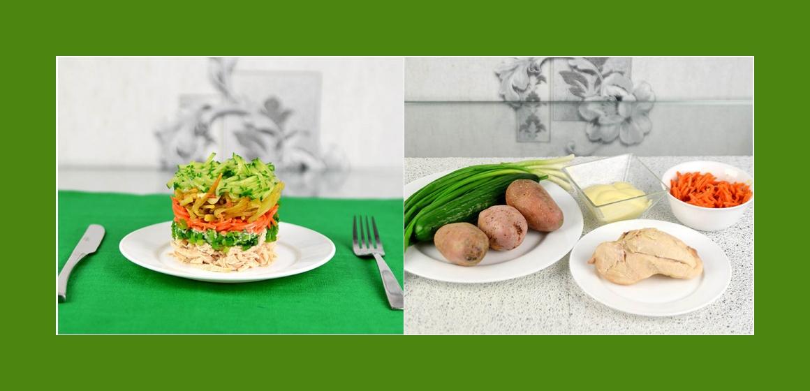 Sanftiger Hänchensalat mit Möhren, Gurken Kartoffeln