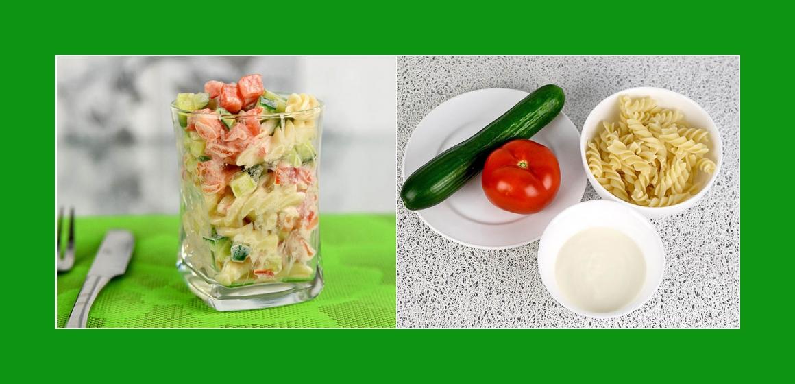 Leichter Nudel-Gurken-Tomatensalat
