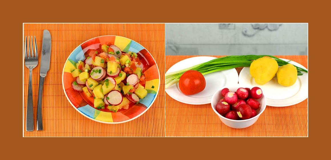 Bunter Kartoffelsalat mit Radieschen und Schnittlauch