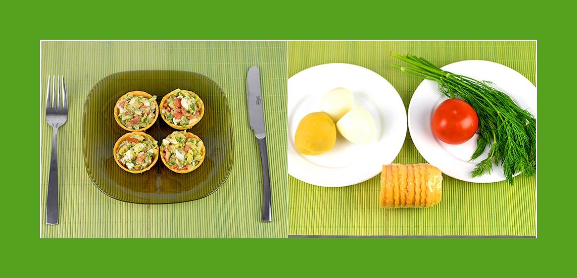 Gemischter Kartoffel-Eier-Tomatensalat mit Petersilien