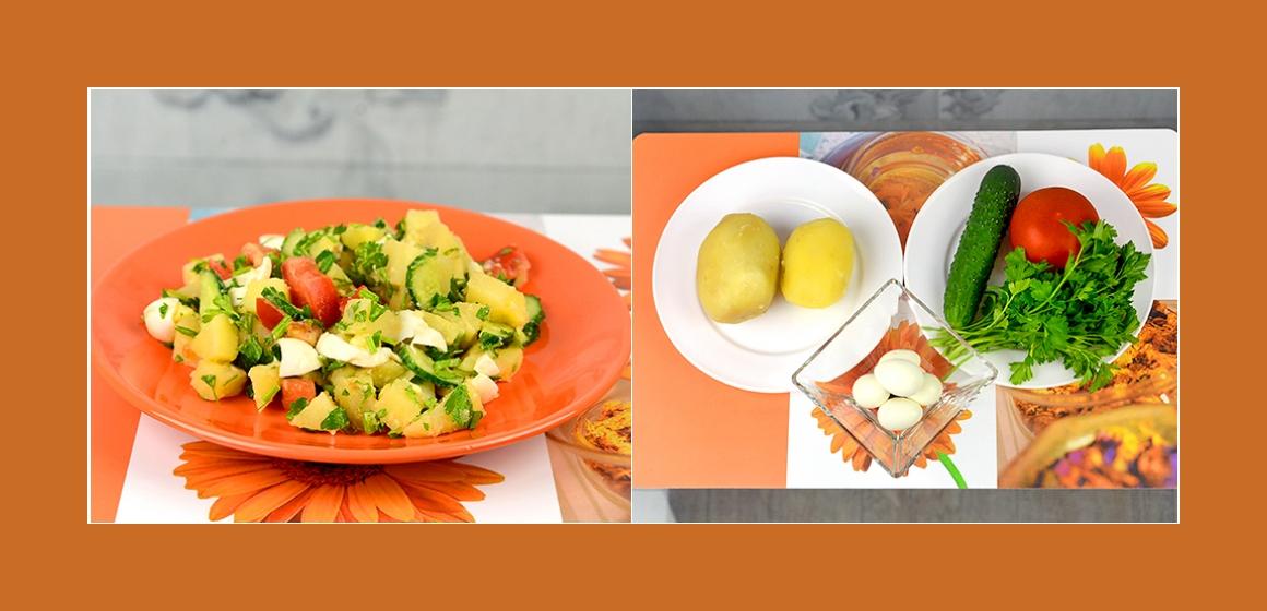 Köstlicher Kartoffel-Eiersalat mit Tomaten, Gurken und Petersilien