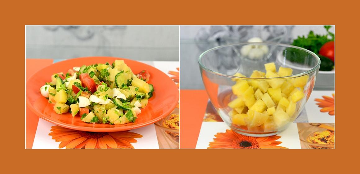 leichter Salat Gemüsesalat mit Eiern