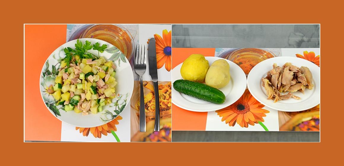 einfacher Gurken-Kartoffelsalat mit Hähnchen