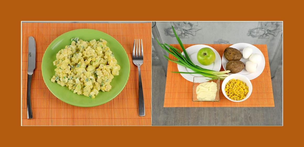 Einfacher Kartoffelsalat mit Eiern, Mais, Apfel und Schnittlauch