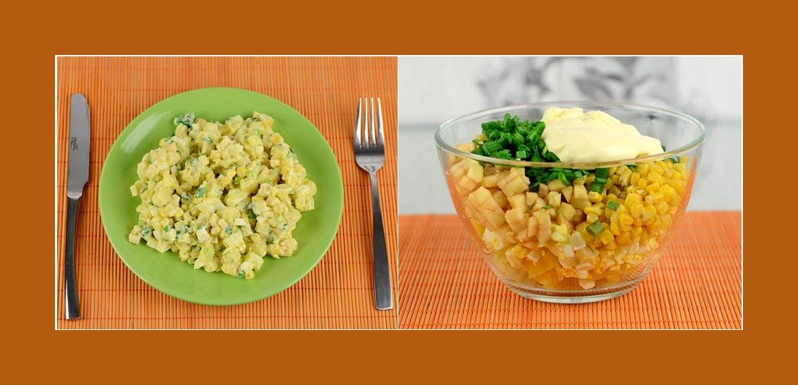 Kartoffelsalat Sommersalat gemischter Salat Mais Apfel