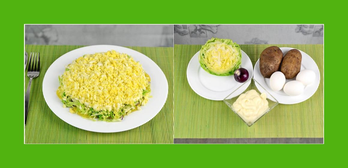 Schmackhafter Kartoffelsalat mit Kohl Eier Zwiebeln