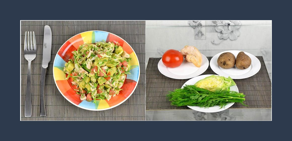 Kartoffel-Weißkohlsalat Hähnchen Tomaten  Dill