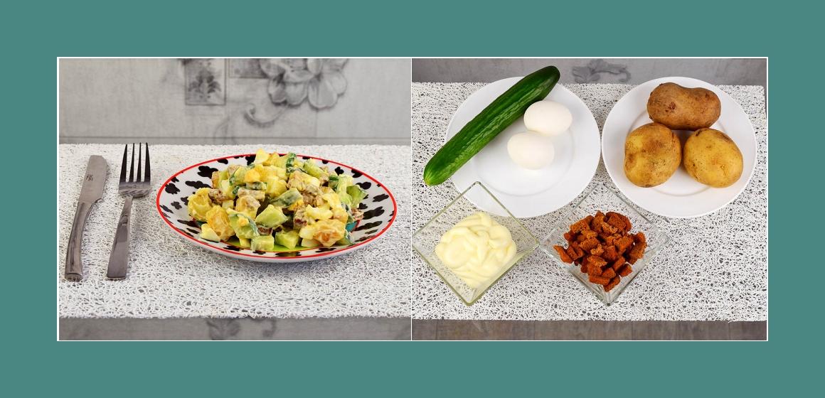 Rasanter Salat mit Eiern, Kartoffeln, Gurken und Croutons