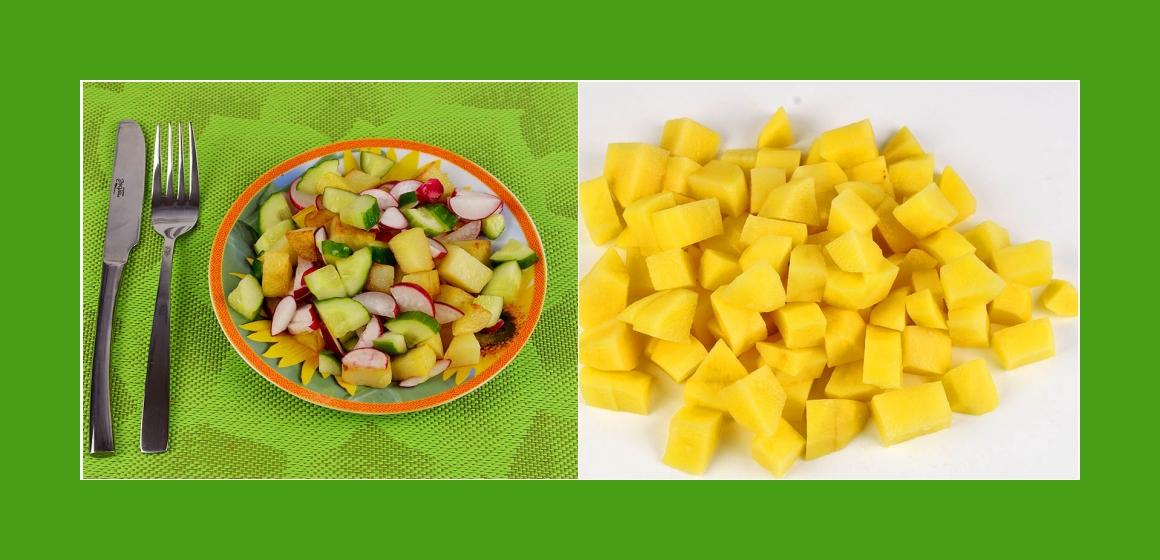 Bratkartoffel-Radieschen-Gurkensalat
