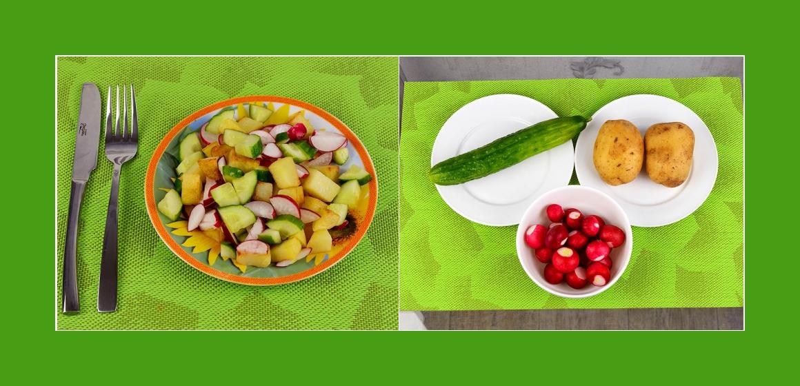 Einfacher Bratkartoffelsalat mit Radieschen und Gurken