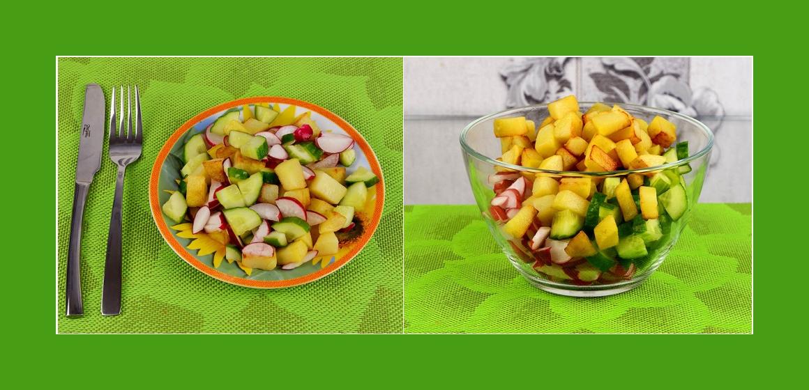 gemischter Gemüsesalat mit Bratkartoffeln einfacher Salat
