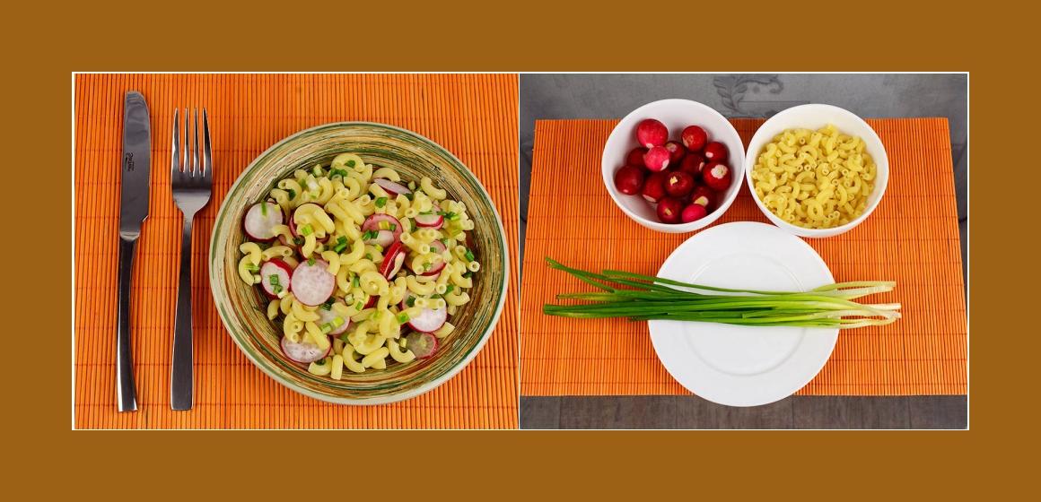 Gemischter Nudelsalat mit Radieschen und Schnittlauch
