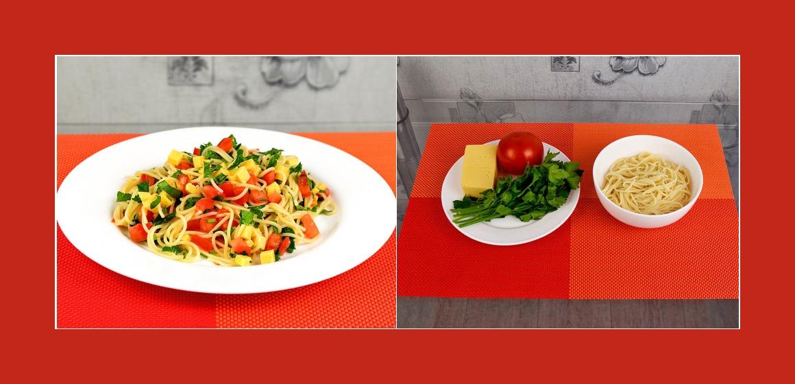Spaghettisalat mit Käse, Tomaten und Petersilien