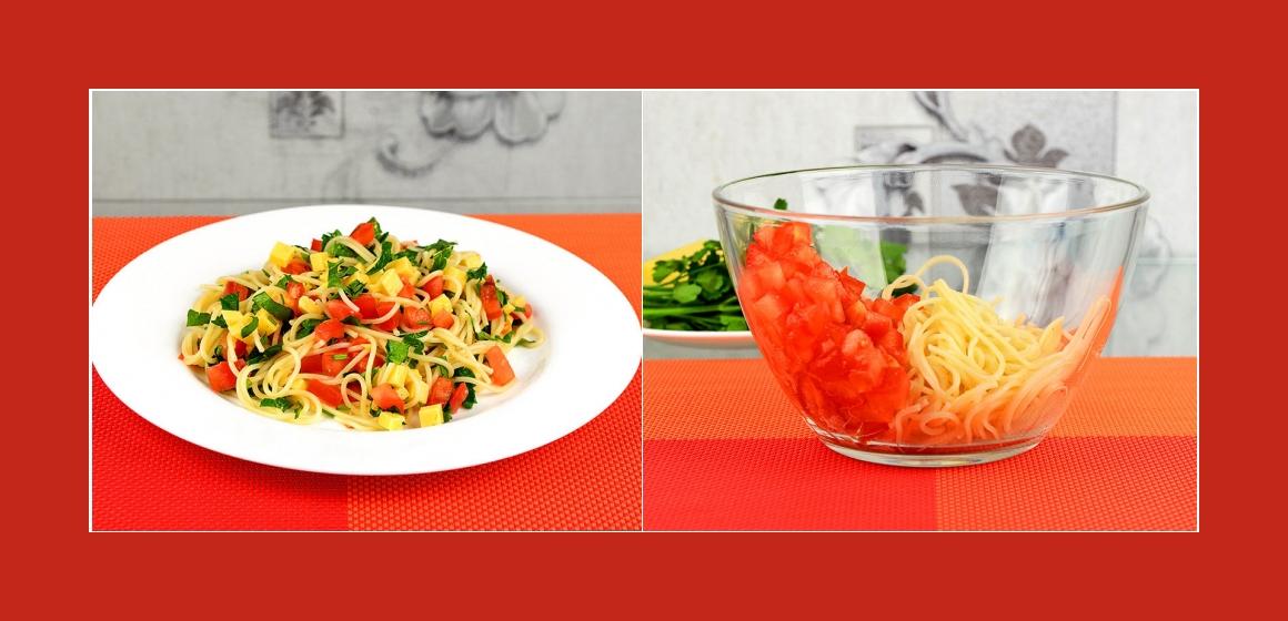 Sommersalat Nudelsalat mit Gemüse