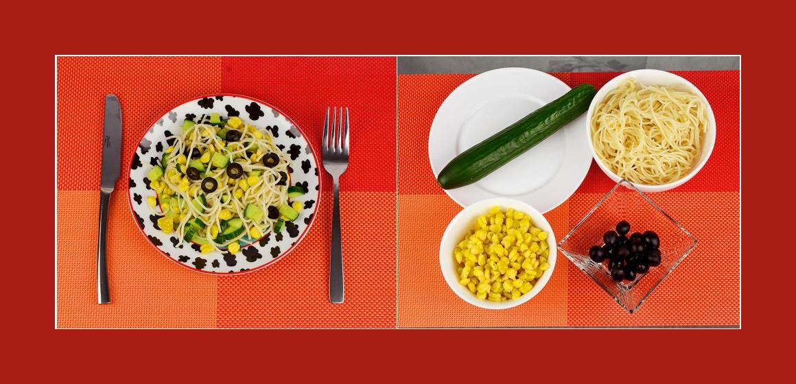 Gemischter Salat mit Spaghetti, Gurken, Mais und Oliven