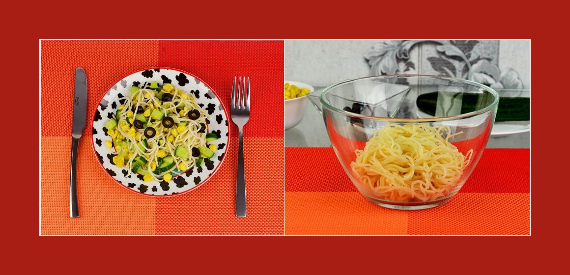 Spaghetti-Gurken-Maissalat