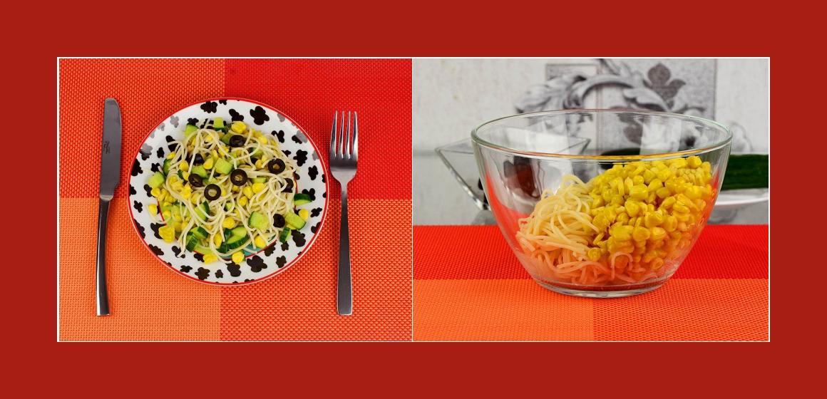 einfacher Salat mit Gurken Oliven Mais