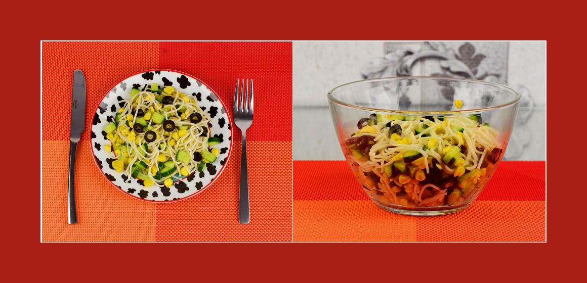 schmackhafter Salat Nudelsalat mit Oliven
