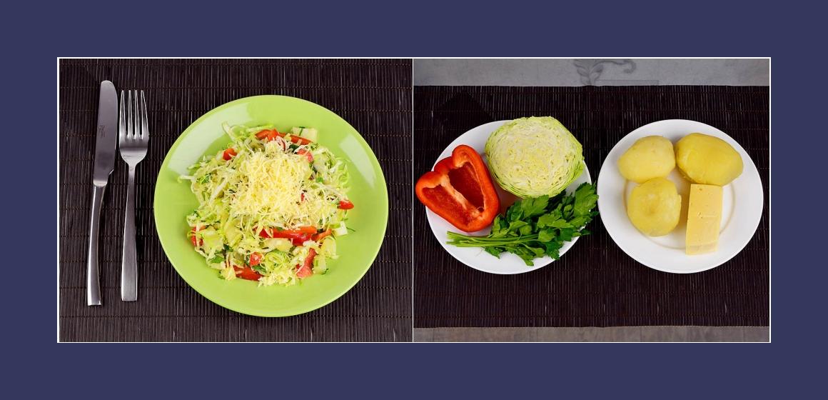 Kartofffelsalat mit Käse Kohl Paprika und Petersilien