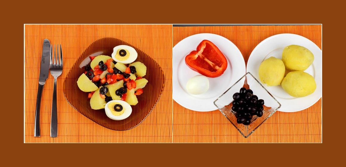 Pickanter Kartoffelsalat mit Eiern Paprika Oliven