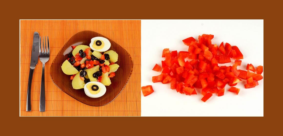 Kartoffel-Eier-Paprikasalat mit Oliven
