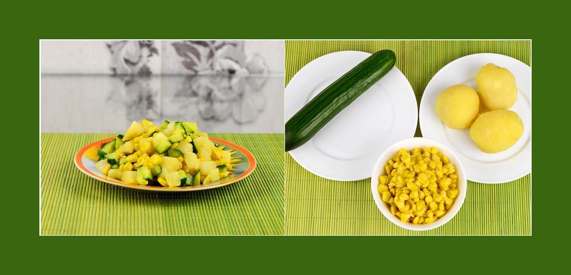 Gemischter Kartoffel-Gurkensalat mit Mais