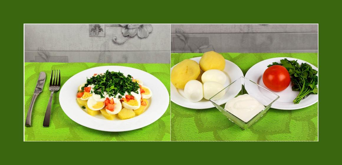 Herzhafter Kartoffel-Eier Salat mit Tomaten und Petersilien