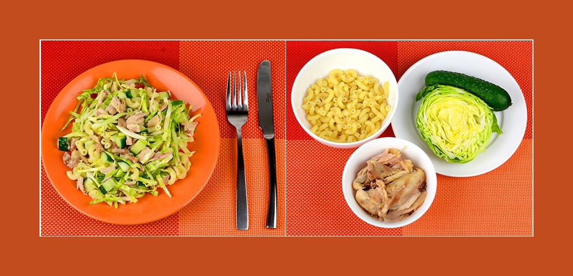 Nudel-Hähnchensalat mit Kohl und Gurken