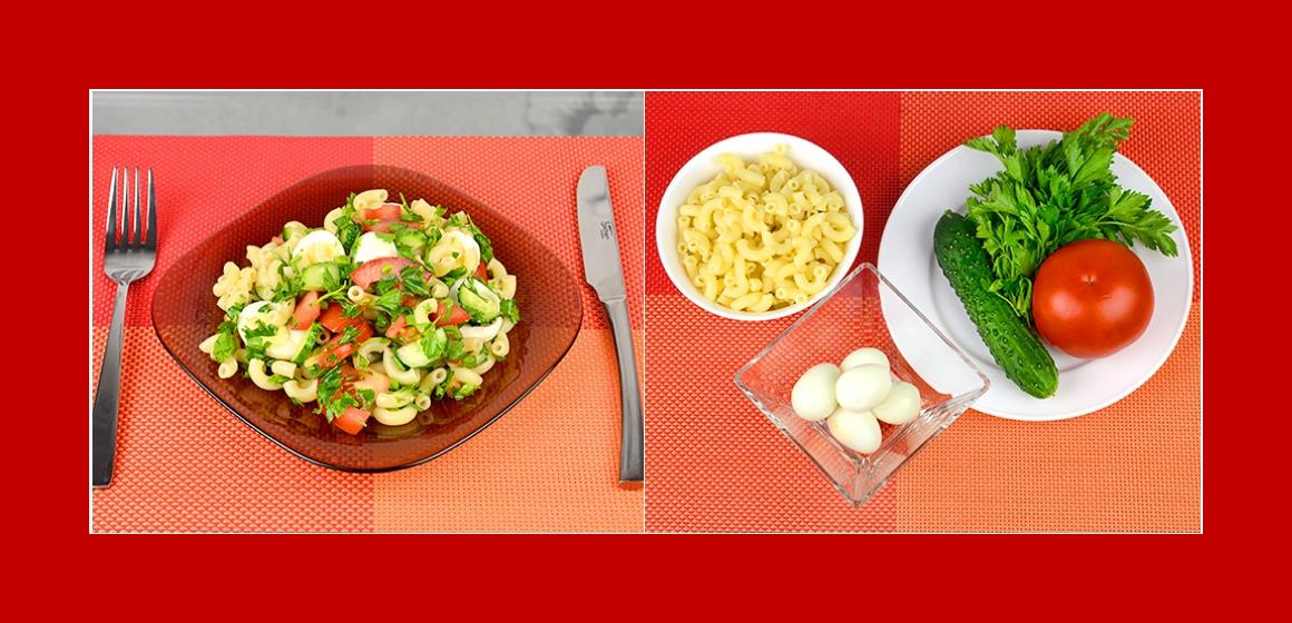 Einfacher Nudel-Eiersalat mit Tomaten Gurken Petersilie