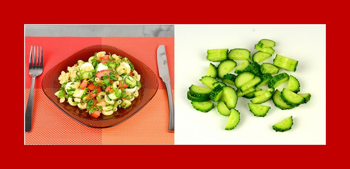 TomatenGurken Salat mit Nudeln