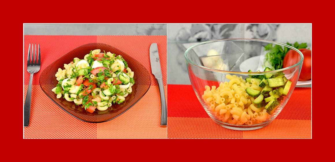 Nudeln-Tomaten-Gurkensalat mit Eiern