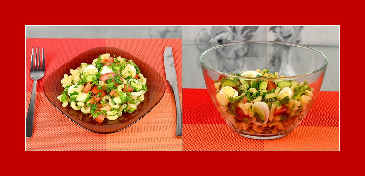 einfacher Nudelsalat mit Gemüse und Eiern