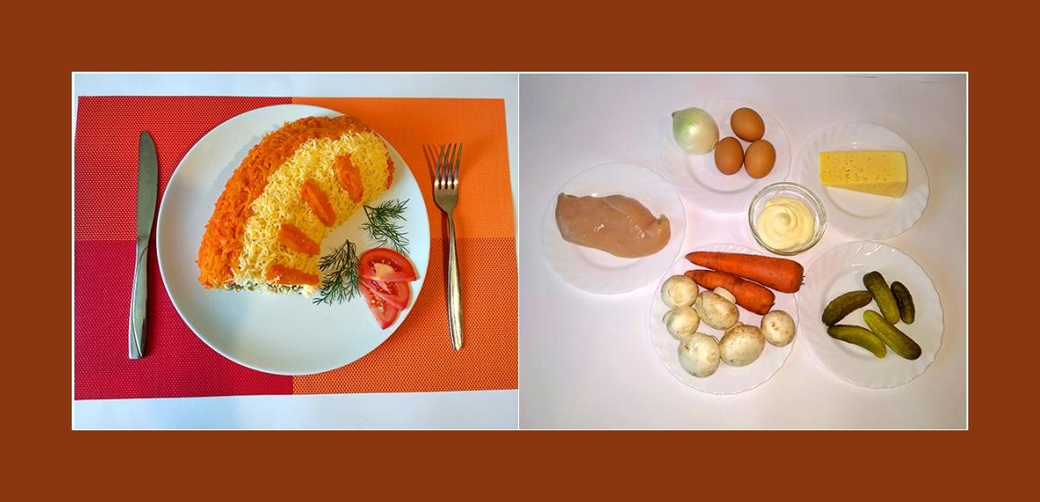 Pickanter Hähnchen-Möhren-Eiersalat mit Champignons Käse sauren Gurken  Zwiebeln