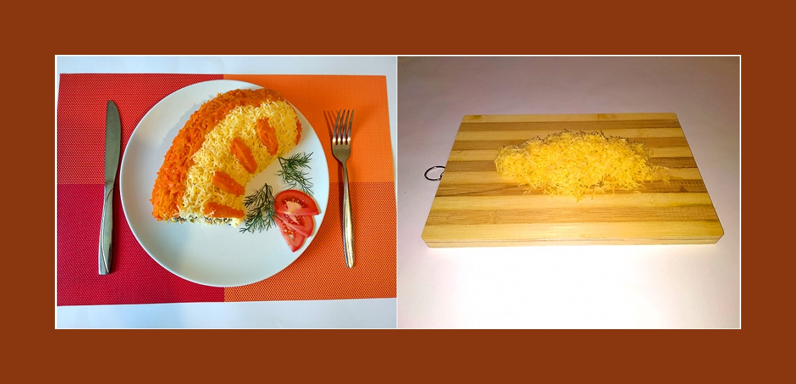 Käse-Möhren-Hähnchensalat bunter Salat