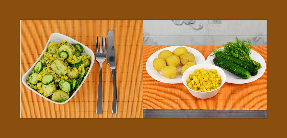 Kartoffelsalat mit Gurken, Mais Petersilien