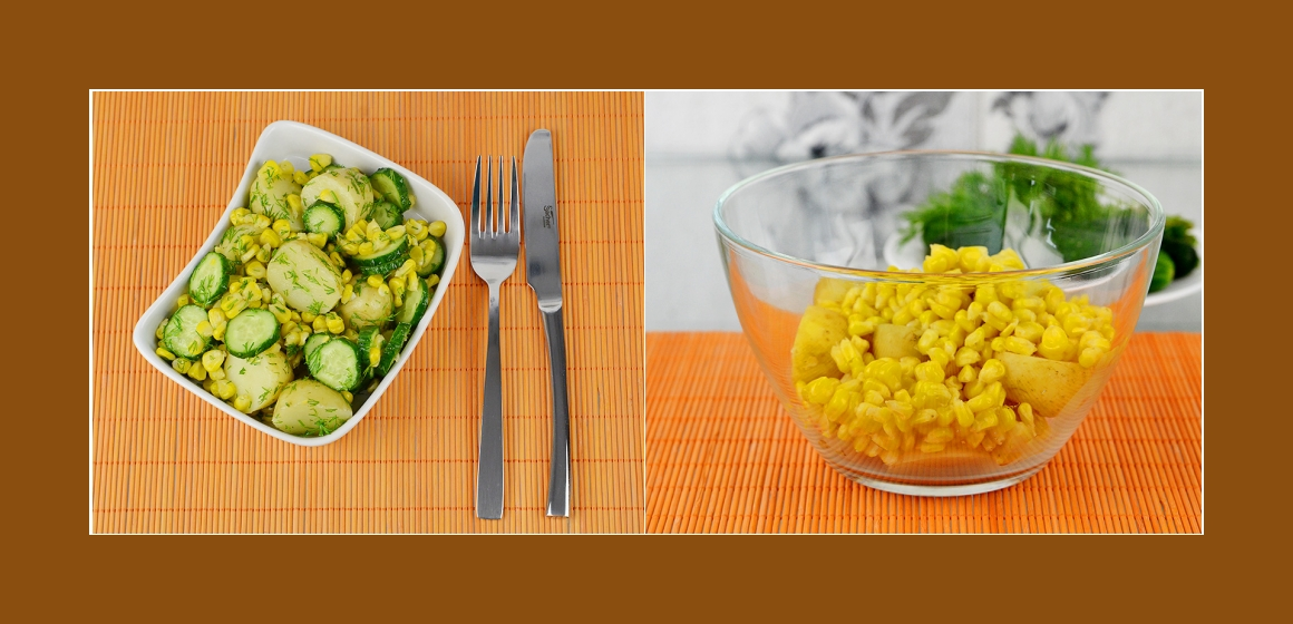 Kartoffel-Gurken-Mais Salat