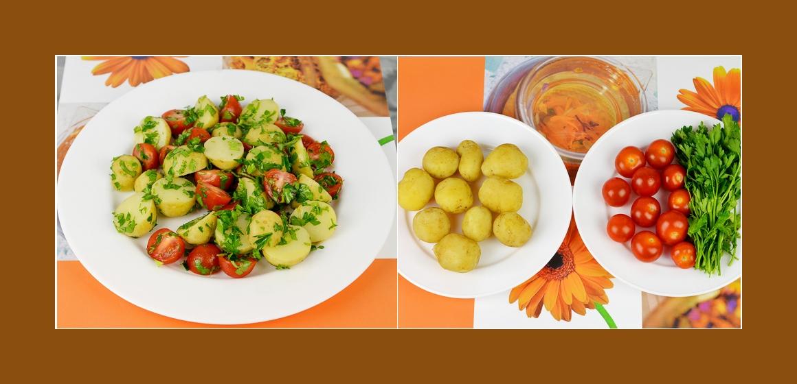 Frühkartoffelsalat mit Tomaten und Petersilien