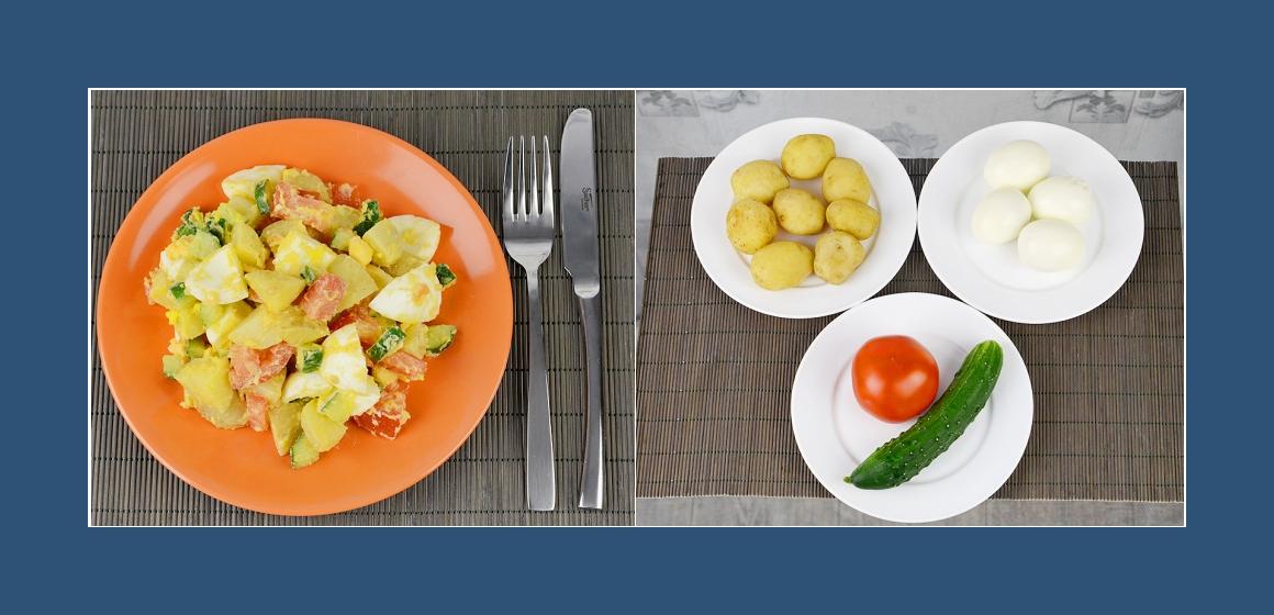 Kartoffel-Eiersalatmit Tomaten und Gurken