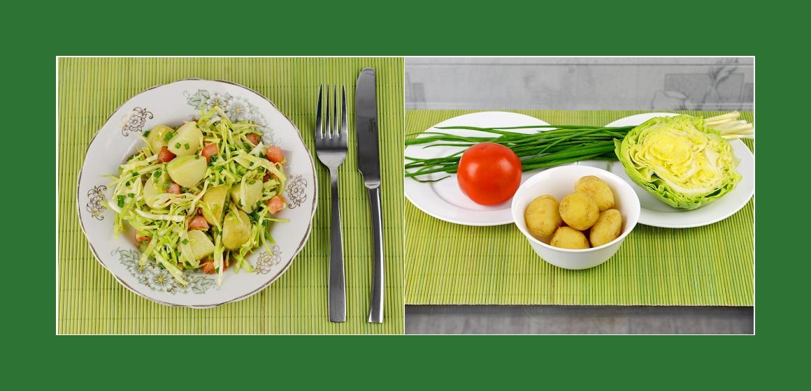 Leichter Kartoffel-Kohl-Tomatensalat mit Schnittlauch