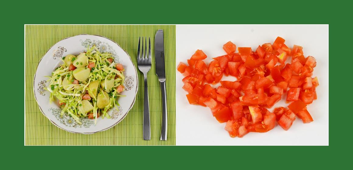 Tomaten-Kohl-Kartoffelsalat mit Schnittlauch