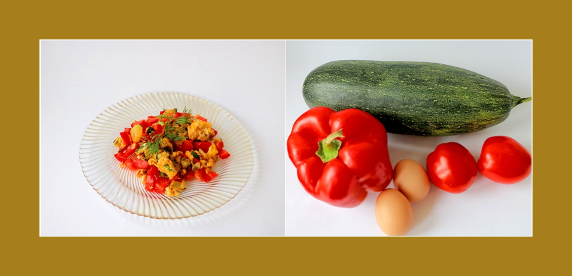 Schmackhafter Salat mit Zucchini, Tomaten und Paprika