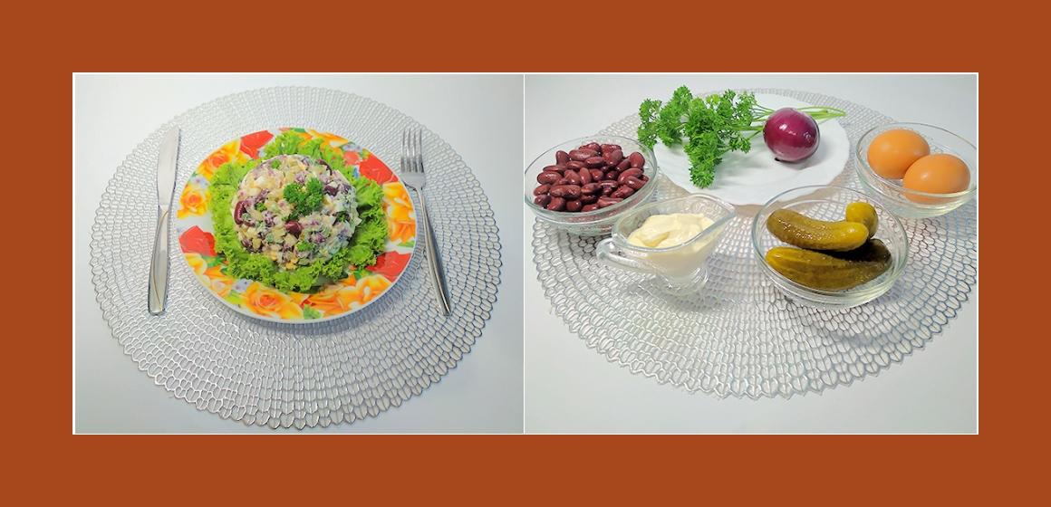 Pikanter Salat mit sauren Gurken roten Bohnen  Eiern  Zwiebeln