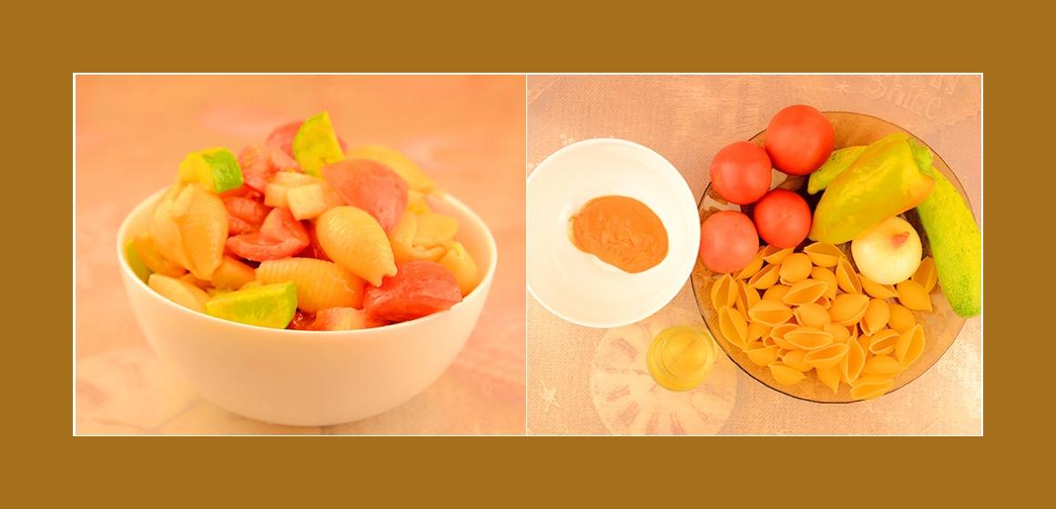 Nudel-Hähnchensalat mit Tomaten, Paprika, Zwiebeln